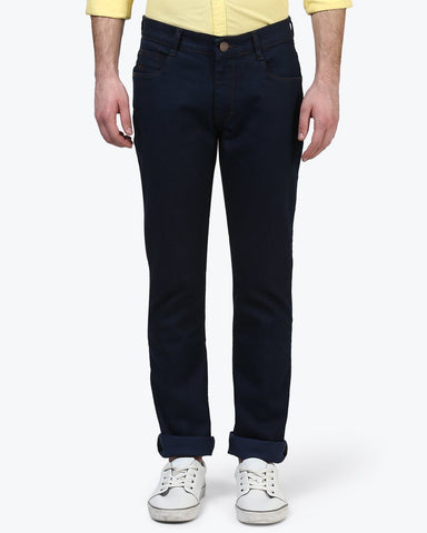 Parx Dark Blue Tapered Fit Jeans