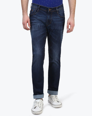 Parx Fancy Blue Tapered Fit Jeans