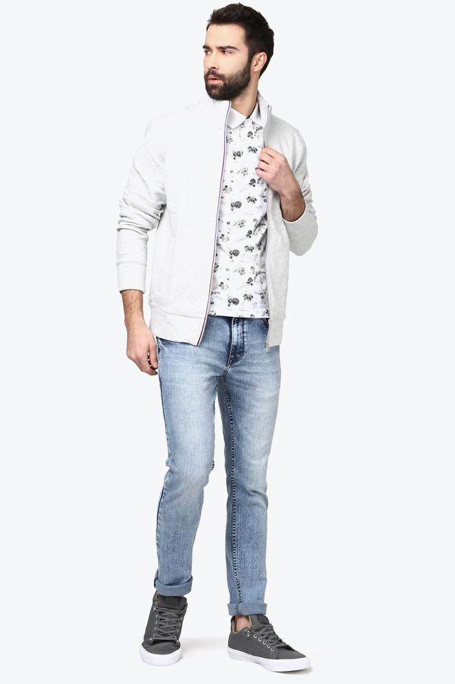 Parx Light Blue Slim Tapered Fit Jeans
