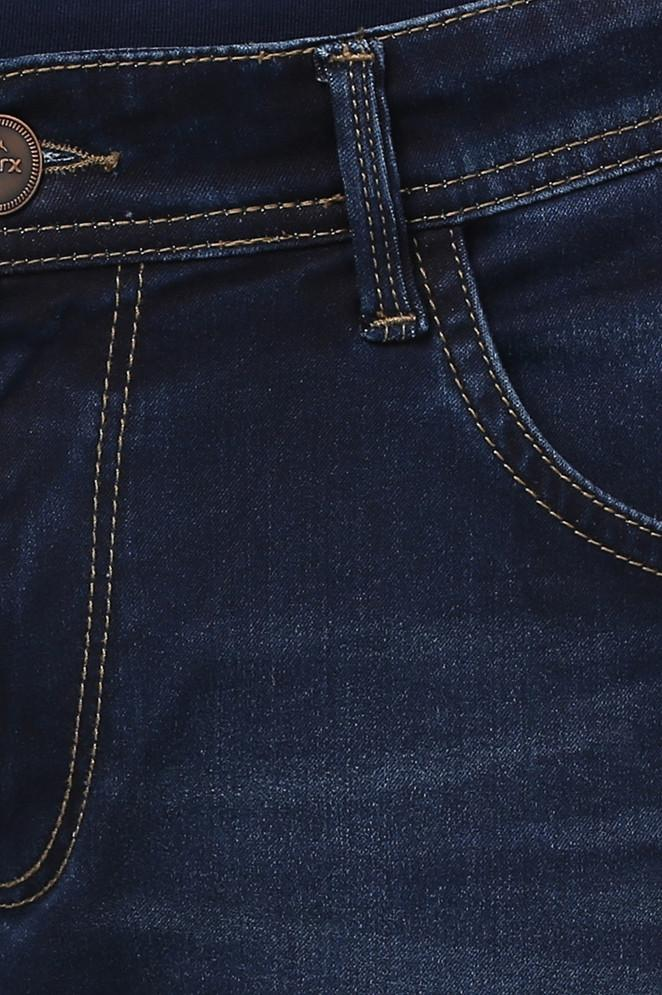 Parx Fancy Blue Slim Tapered Fit Jeans