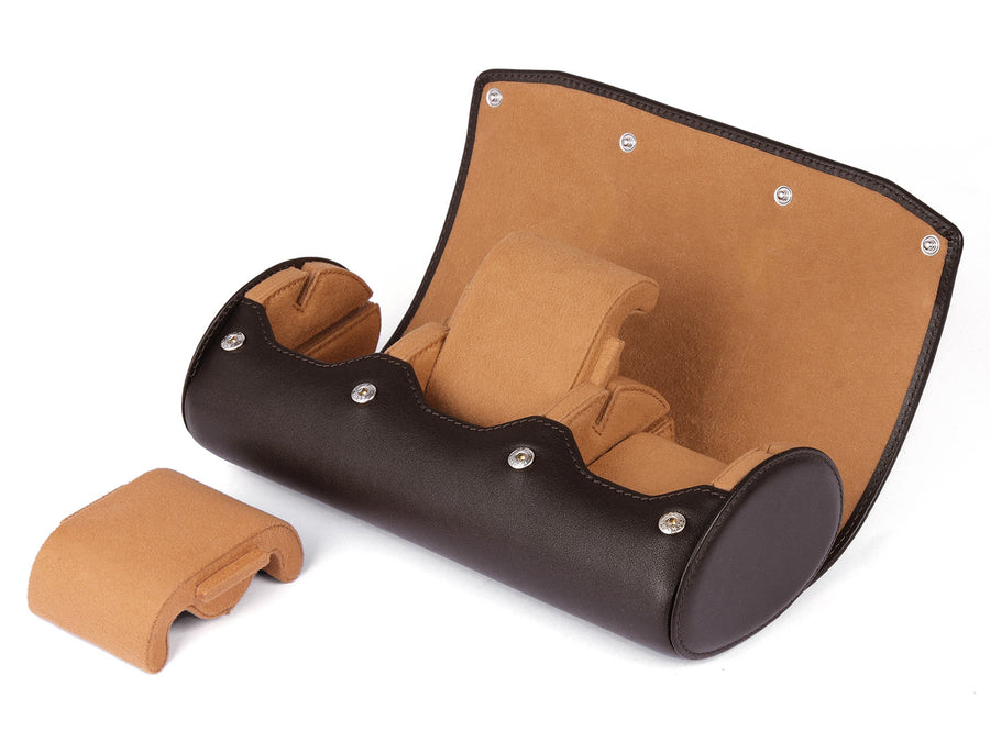 LEATHER WATCH ROLL FOR 3 WATCHES - WITH STAND FUNCTION - dark brown - CARAPAZ