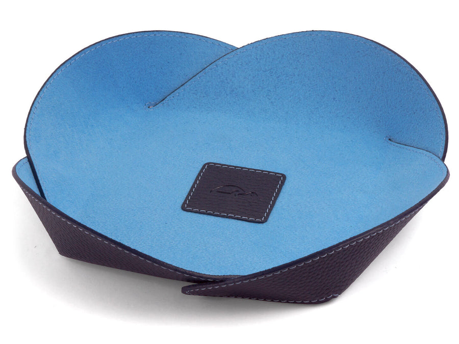 Leather Catchall Design Tray grained genuine leather foldable - front - blue - Carapaz ROSETTA