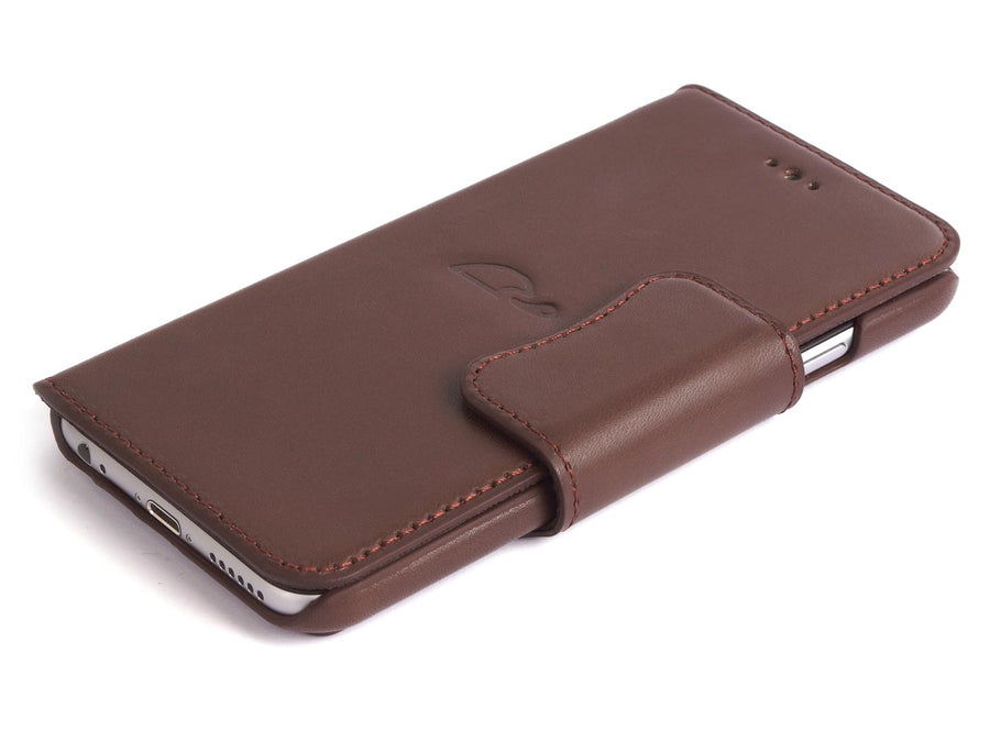iphone 6 brown leather wallet case - Carapaz