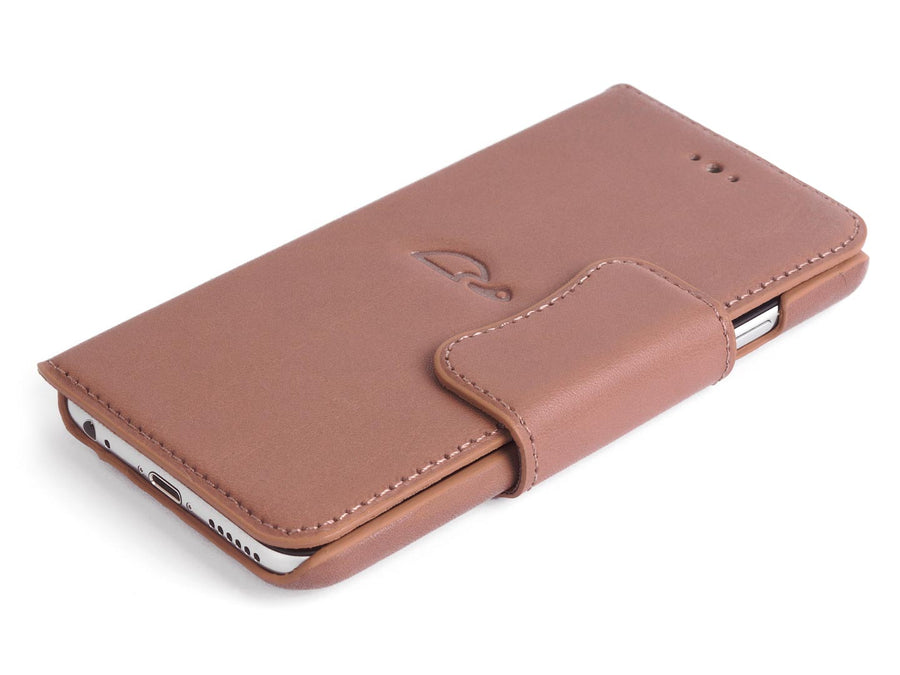 Wallet case iPhone 6 leather rosy brown - front - Carapaz