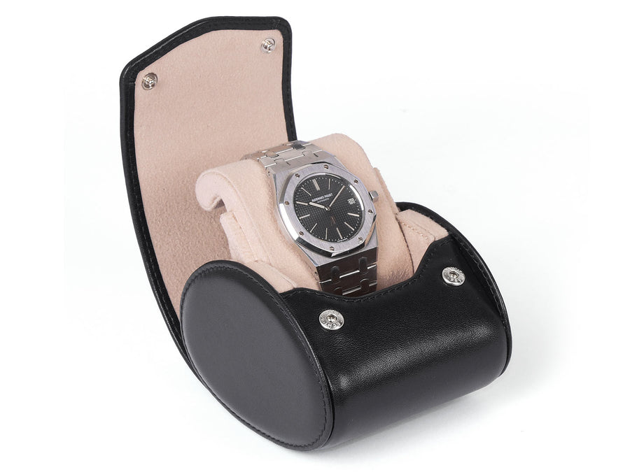 TRAVEL & STORAGE BOX FOR 1 WATCH - WITH STAND FUNCTION-black-leather-travel-storage-CARAPAZ