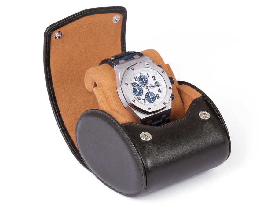 TRAVEL & STORAGE BOX FOR 1 WATCH - WITH STAND FUNCTION-brown-leather-CARAPAZ