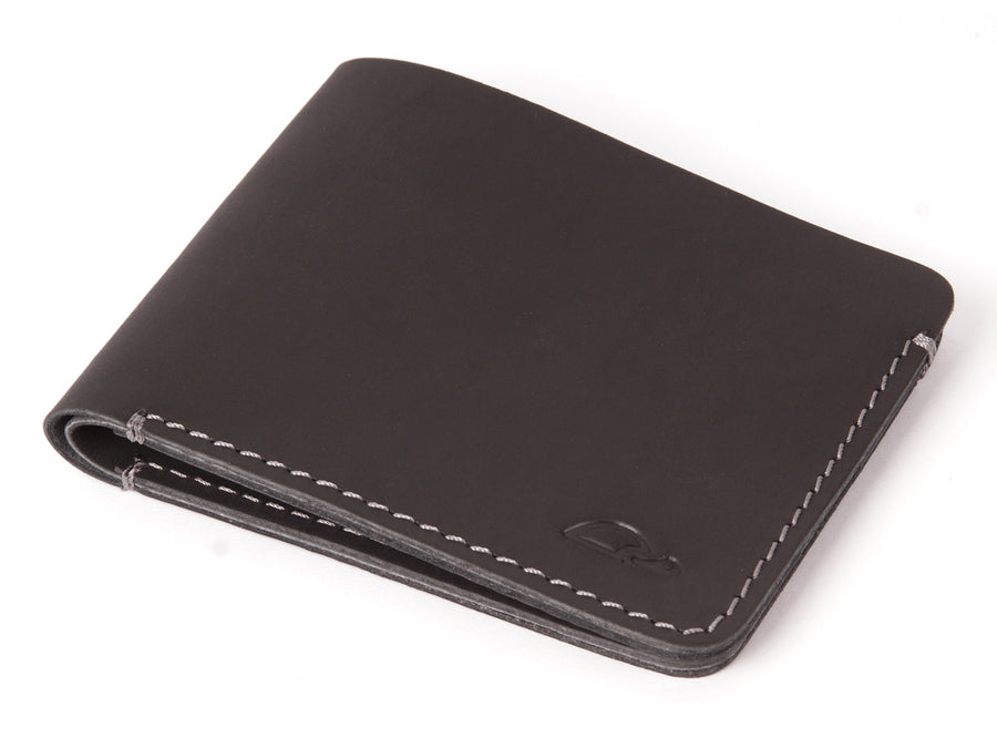 SLIM LEATHER WALLET - MINIMALIST DESIGN - BLACK - CARAPAZ