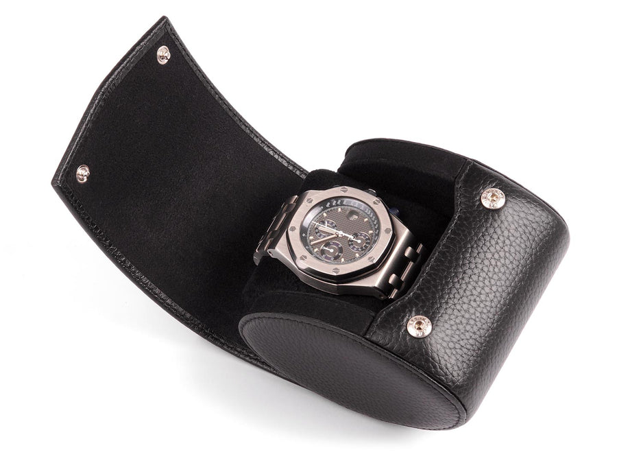 TRAVEL & STORAGE WATCH CASE FOR 1 SINGLE WATCH - GRAINED BLACK LEATHER