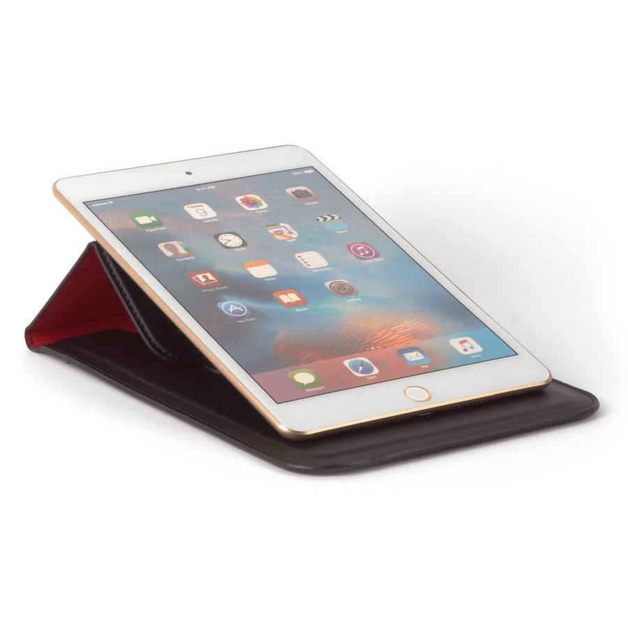Leather Case with Stand Function for iPad Mini - SIENA  - Smooth Matt Black Leather-Carapaz