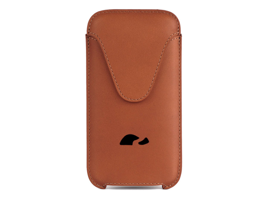iPhone XS Max / 6 - 7- 8 Plus leather pouch sleeve protective slim case - natural leather veg-tan - Carapaz