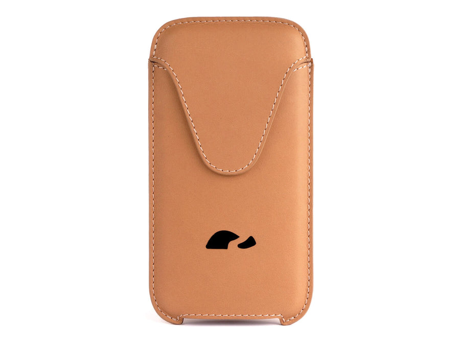 iPhone 6/7/8 Plus / XS Max leather sleeve case - slim design veg-tan leather - beige - Carapaz
