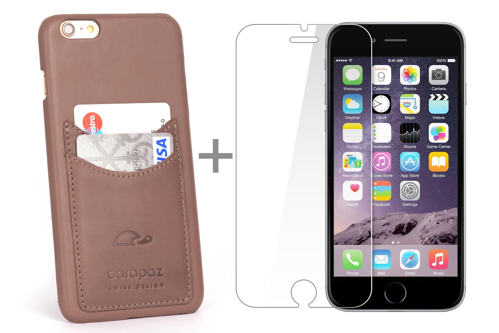 505ed5c100f3 Leather cover for iPhone 6   6S Plus - cards wallet case - rosy brown -