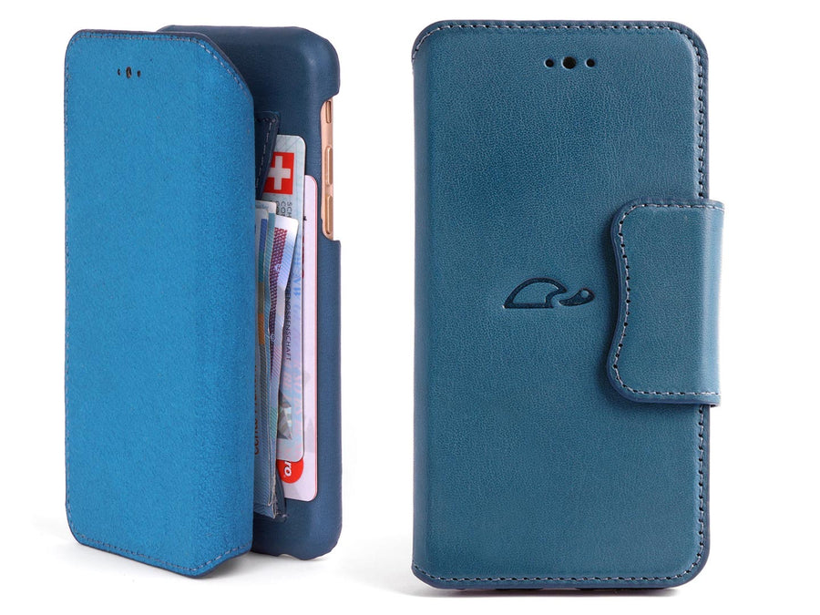 iPhone 6 Plus wallet case leather blue - front - Carapaz