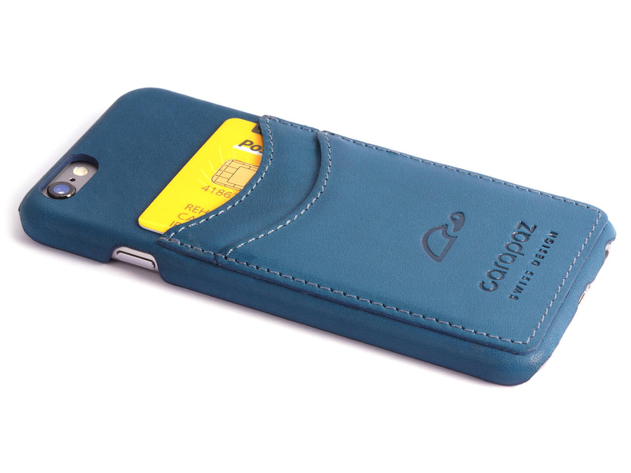 iPhone 6 / 6S Slim case - blue leather wallet case - credit cards - Carapaz