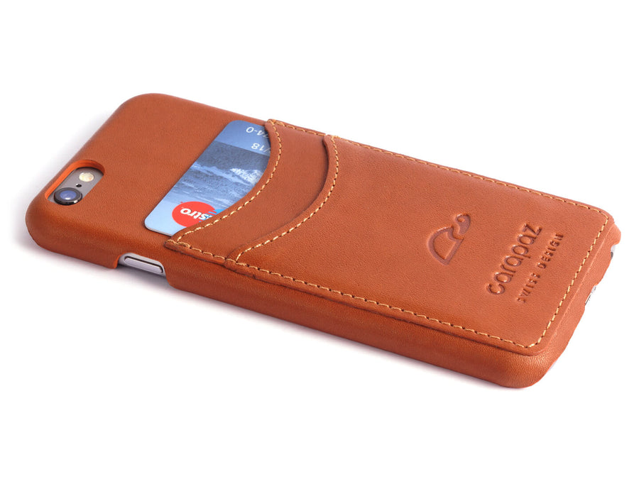 Leather wallet slim case iPhone 6 - credit cards - tan - Carapaz