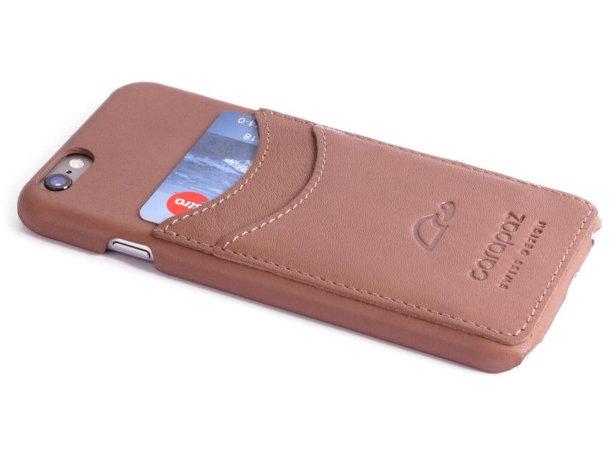 iPhone 6 Slim Case Leather - credit cards - rosybrown - Carapaz