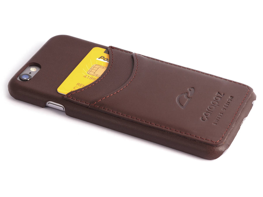 iPhone 6 Leather Slim Case - brown - credit cards - Carapaz