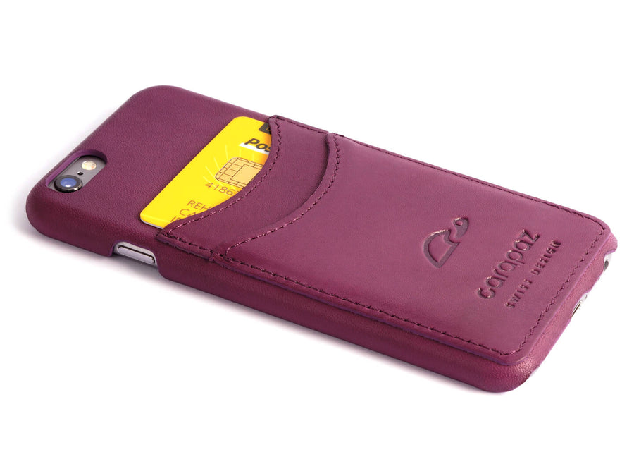 iPhone 6 Leather Slim Case - purple - credit cards - Carapaz