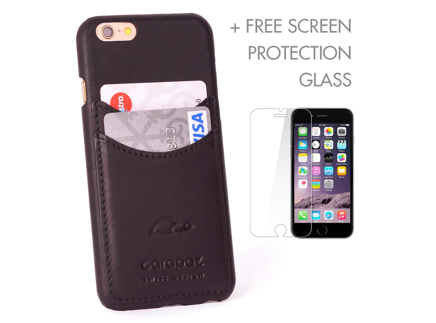5294c50a498 iPhone 6 / 6S Slim case - black leather wallet case - credit cards - Carapaz