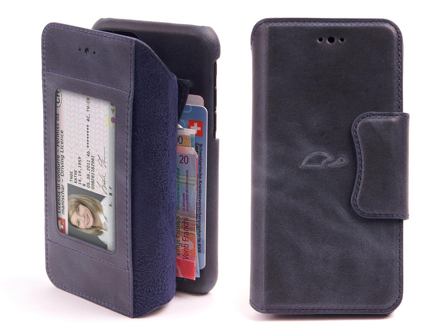 Wallet case iPhone 7 / 8 leather blue - front - personalizable - Carapaz Paris