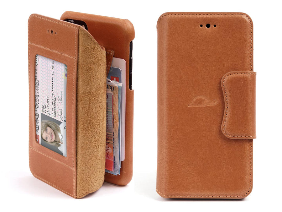 iPhone 7 8 Plus leather wallet case - vintage brown - front - Carapaz Paris