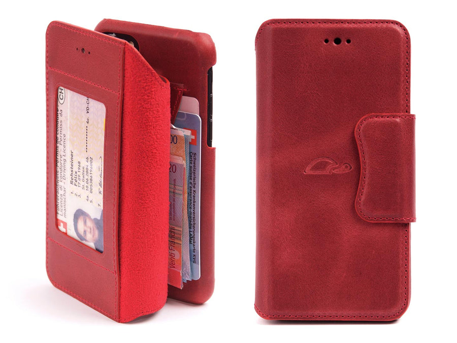iphone 7 / 8 leather wallet case - red - front - Carapaz