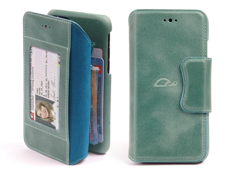 iPhone 7 / 8 leather wallet case - turquoise green - front - Carapaz