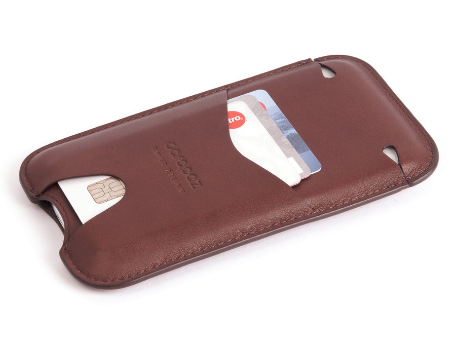 iPhone X Leather Pouch - Protective Sleeve Case - Brown Natural Leather - side - Carapaz