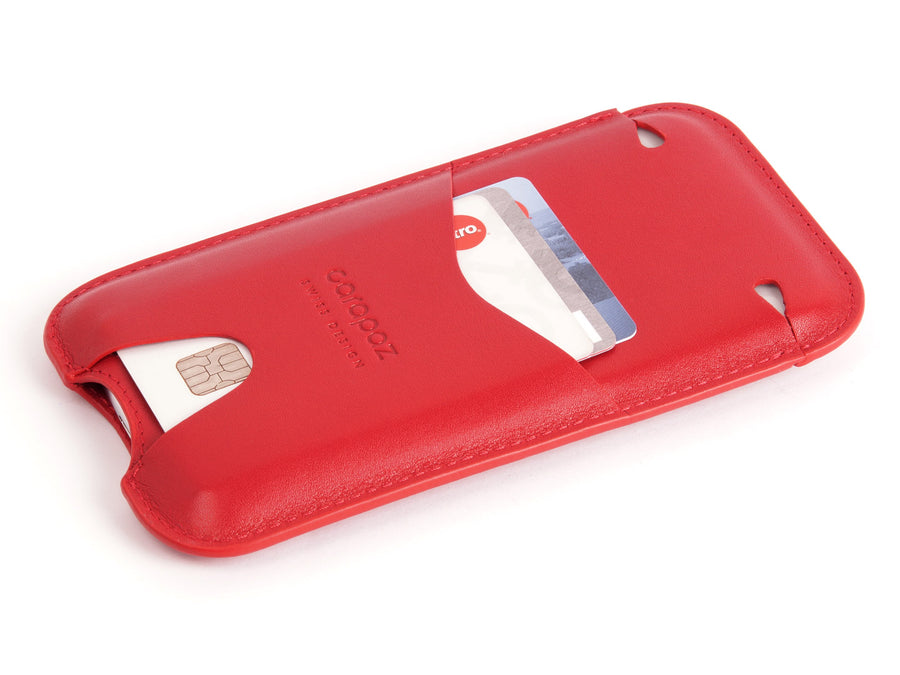 Leather pouch iPhone X - Red Leather Cover - Sleeve Case - front - Carapaz