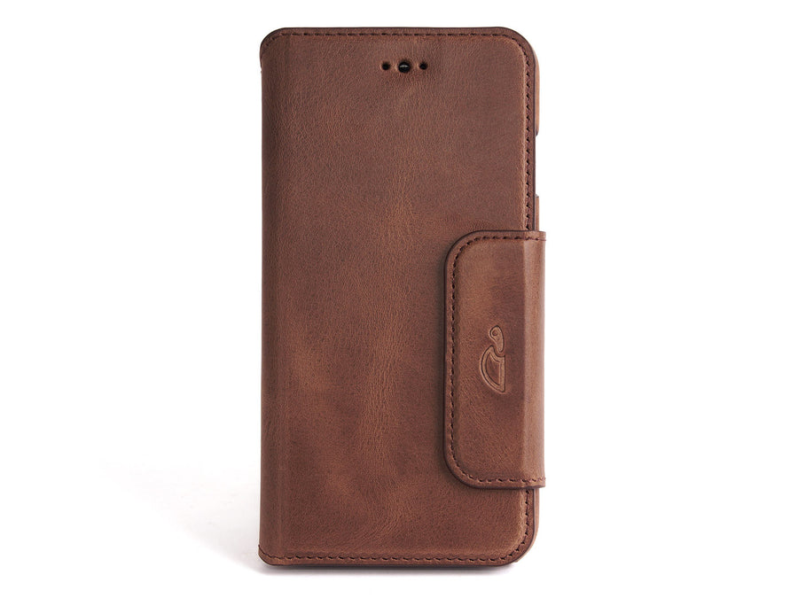 iPhone 7 wallet case brown vintage leather - Carapaz - Geneva