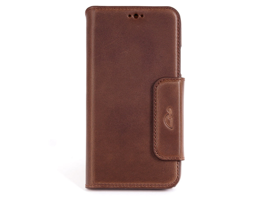 iPhone X leather wallet case - brown vintage leather - card slots - front - Carapaz