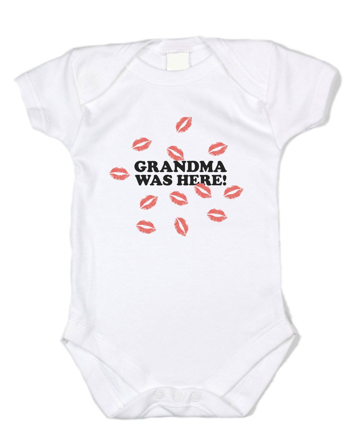 "Grandma Baby Clothing ""Grandma Was Here!"" White Onesie"