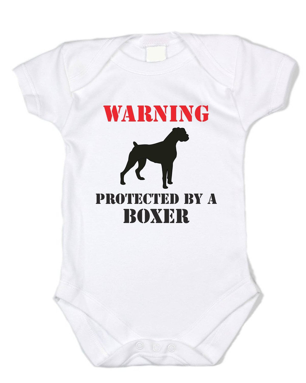 """Warning: Protected By a Boxer"" White Onesie"