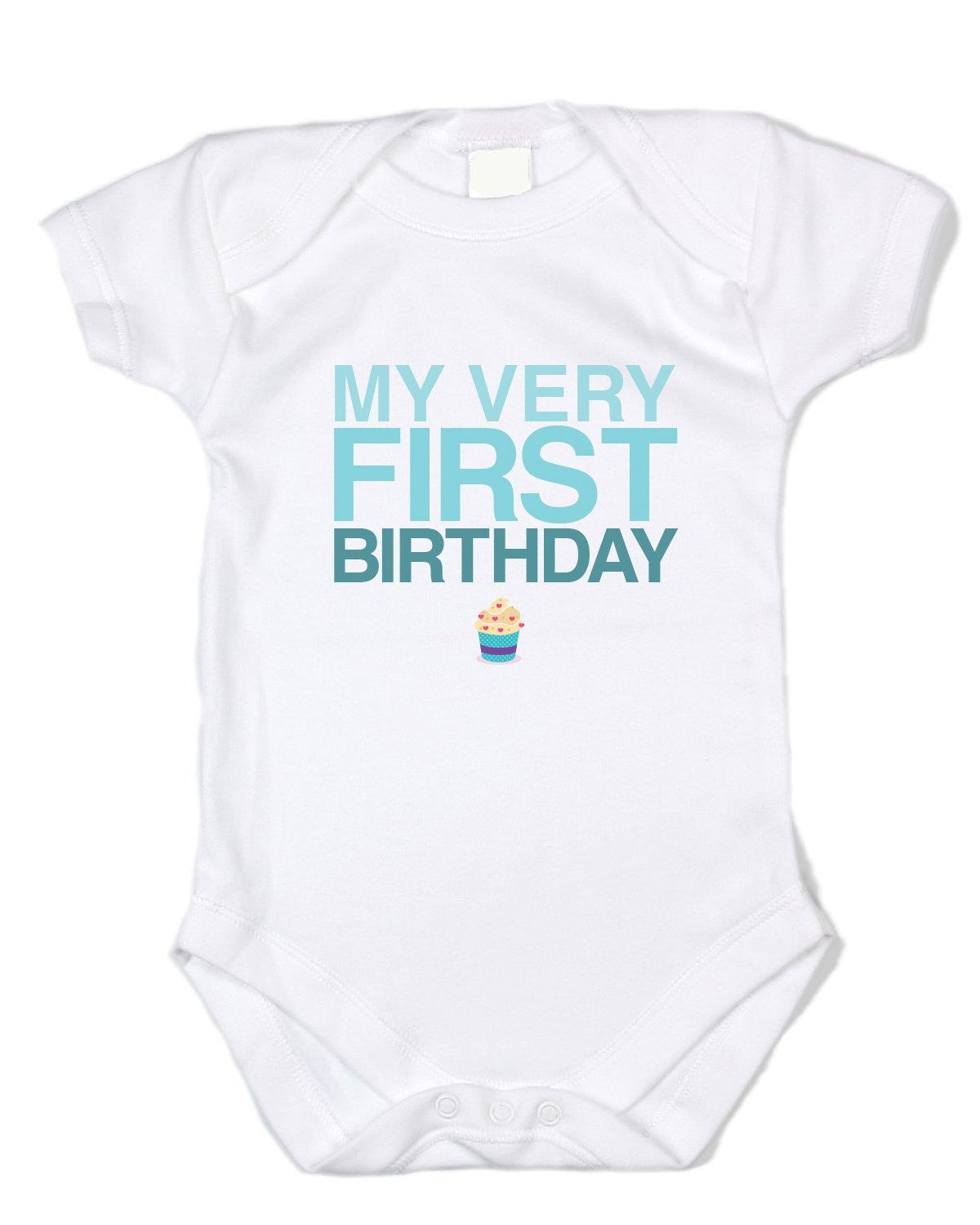"""My Very First Birthday"" Blue Text, White Bodysuit - Baby Boy Onesies"