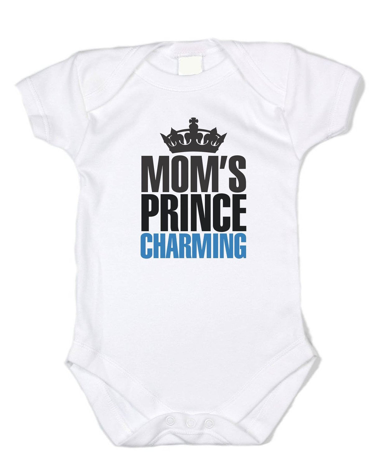 """Mom's Prince Charming"" Black/blue Text, White Cotton Onesie"