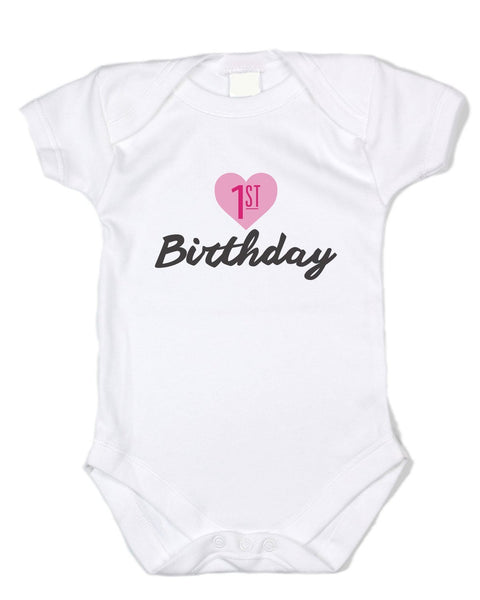 "Cool Baby Clothing ""1st Birthday"" - Pink Heart, Black Text, White Cotton Baby Onesie"