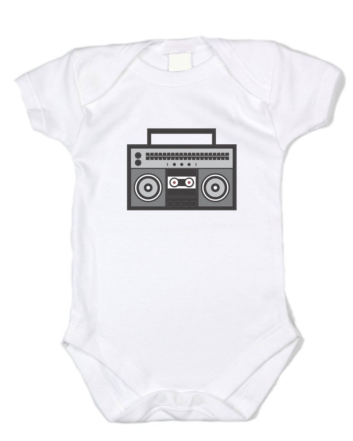 "Trendy Baby Clothes ""Boombox"" - White Cotton Bodysuit"