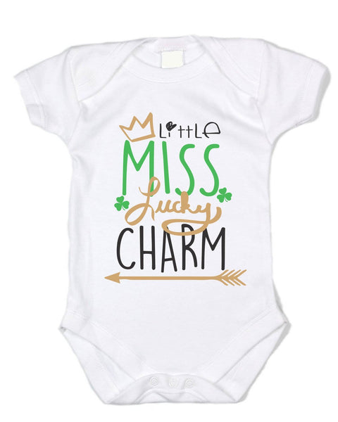 """Little Miss Lucky Charm"" White Onesie - St. Patty's Day Baby Clothes"