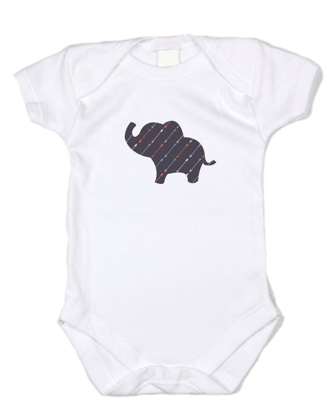 Arrow Pattern Elephant - White Cotton Onesie