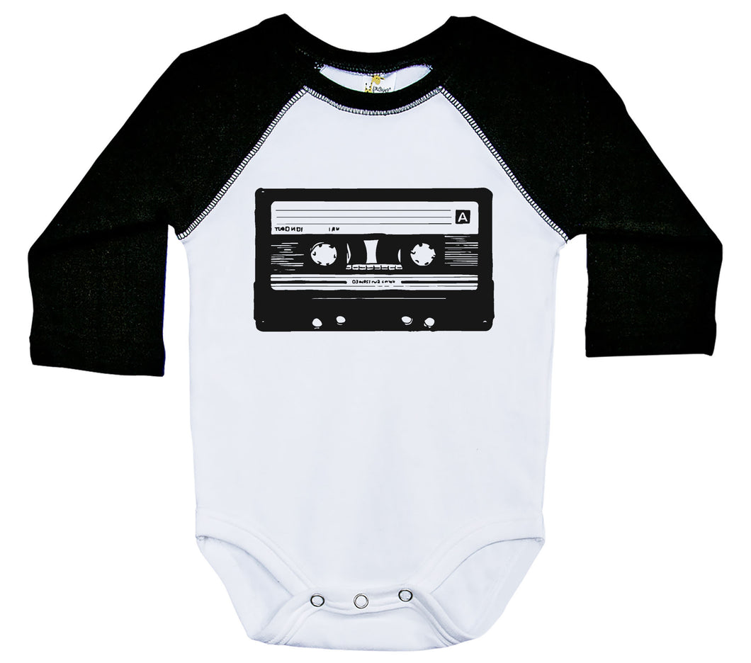 Cassette Tape / Raglan Onesie / Long Sleeve