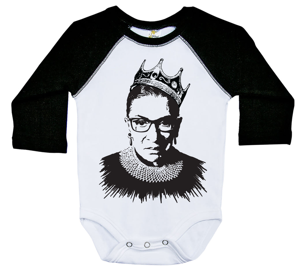Notorious RBG / Ruth Bader Raglan Onesie / Long Sleeve