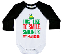 Load image into Gallery viewer, I Just Like To Smile, Smiling's My Favorite / Raglan Baby Onesie / Long Sleeve