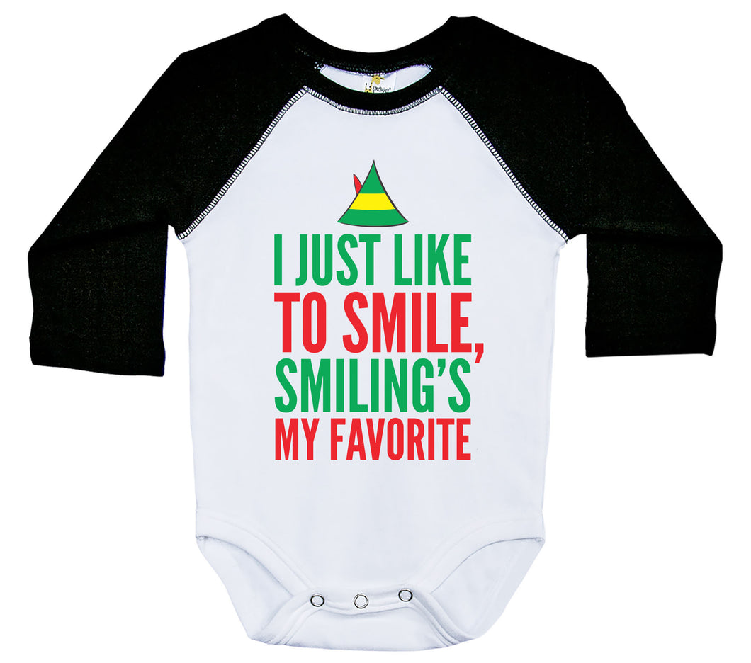 I Just Like To Smile, Smiling's My Favorite / Raglan Baby Onesie / Long Sleeve
