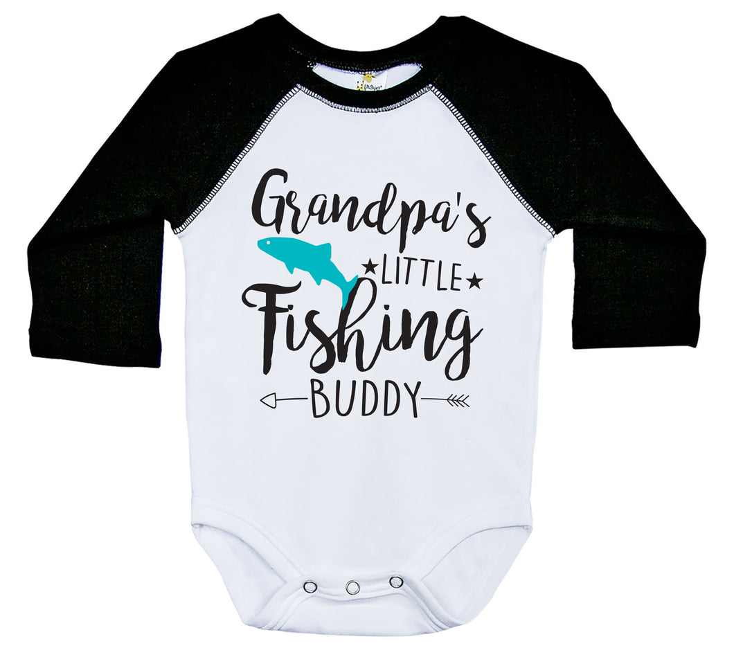 Grandpa's Little Fishing Buddy / Raglan Onesie / Long Sleeve
