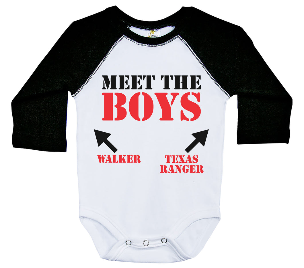 Meet The Boys - Walker Texas Ranger / Raglan Onesie / Long Sleeve