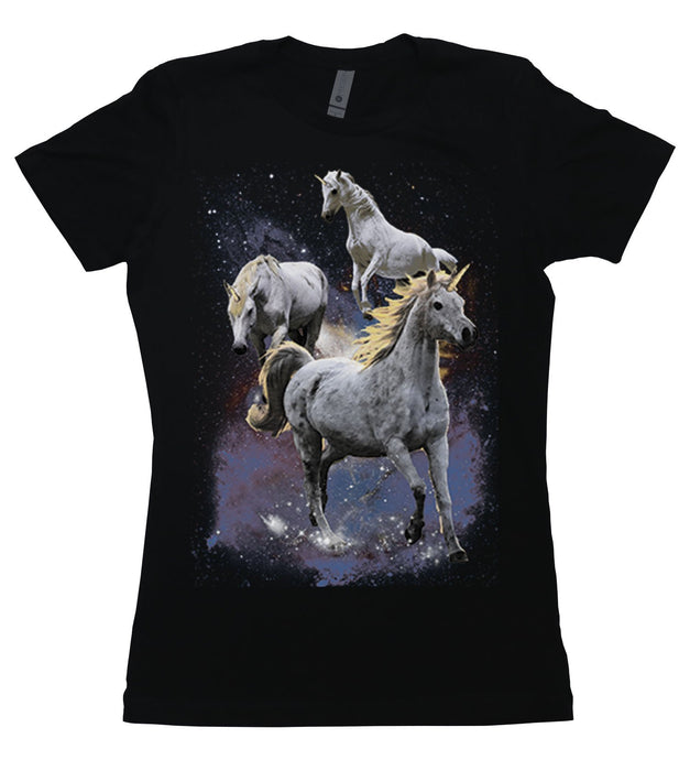 Three unicorns looking majestic in outer space