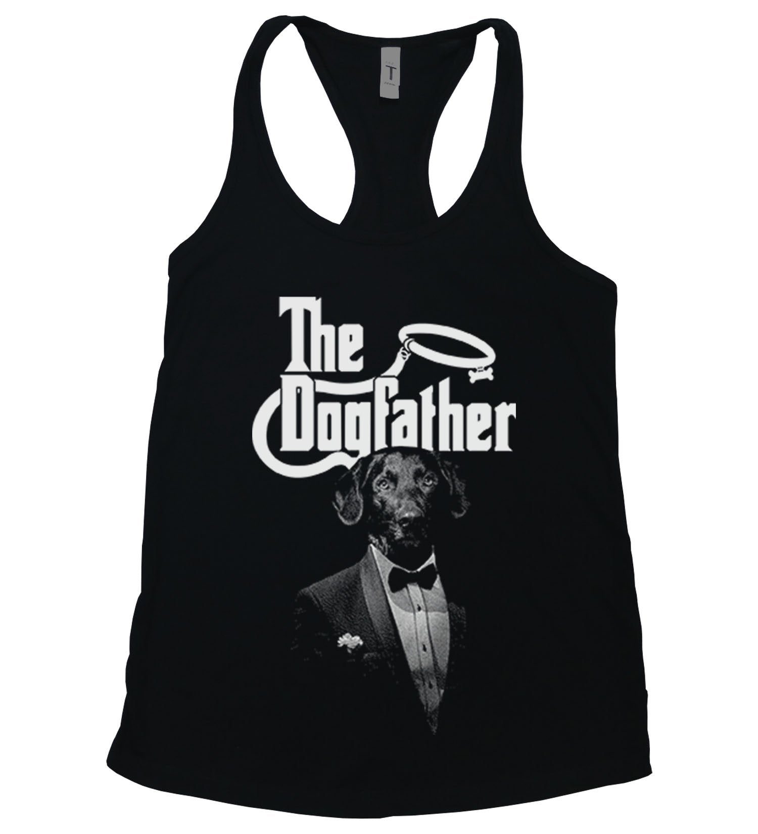 "A dog wearing a suit with the words ""The Dogfather"" above it in the style of the classic film. Black and White."