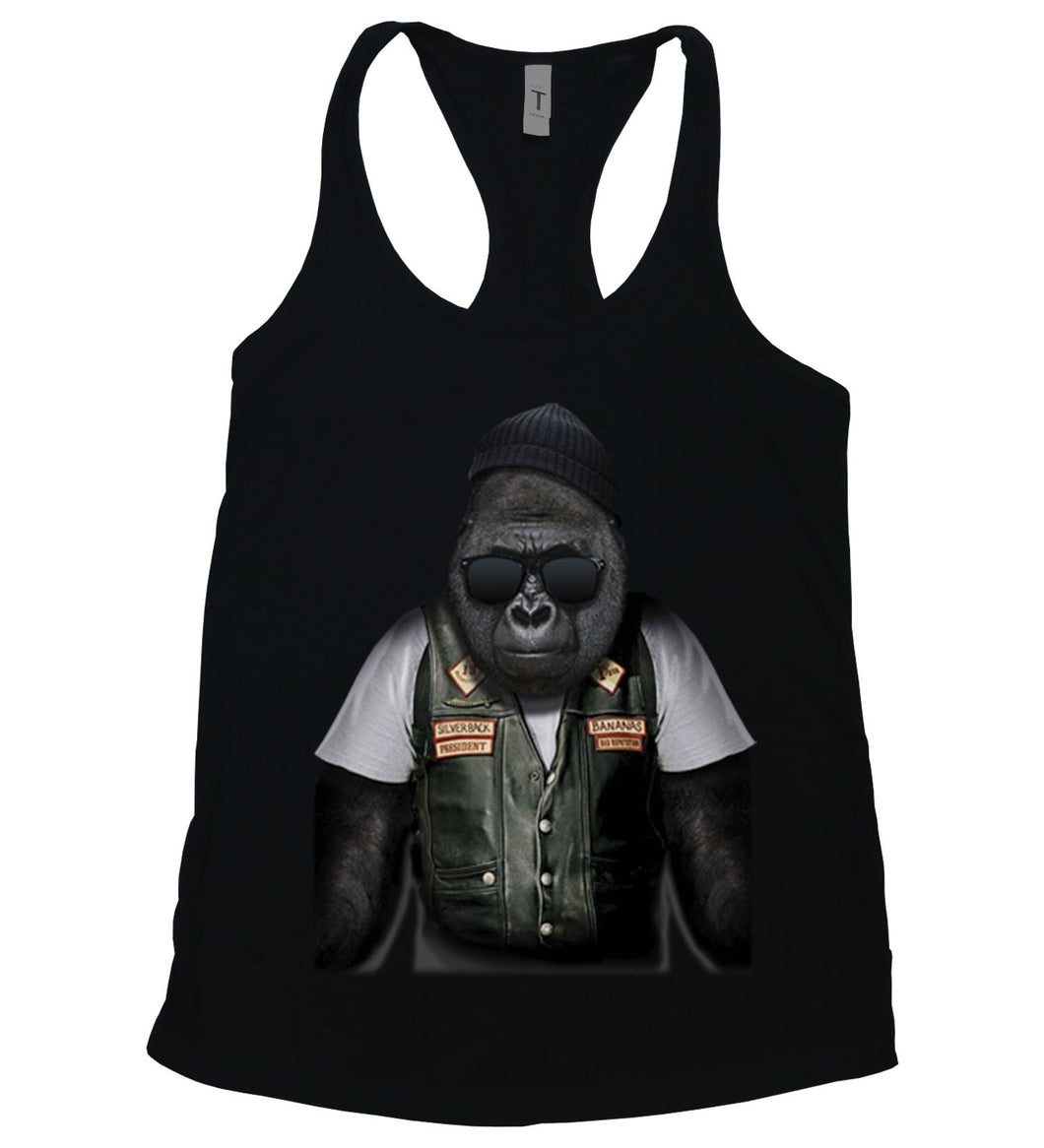 A gorilla dressed as a biker on a tank top