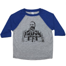 Load image into Gallery viewer, A toddler raglan or baseball style tee with an image of Martin Luther King Jr. in the middle. The 3/4 sleeves are the first color listed with the second color in the middle