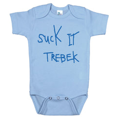 Blue Onesie with Suck it Trebek Graphic